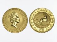 Australien 100 $ Nugget Känguru, 1 Unze  1991