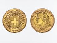 Schweiz 20 Franken Vreneli Goldmünze 1935 LB