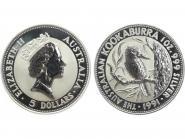 Australien 5$ Kookaburra 1991, 1 oz  Silber