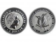 Australien 1$ Kookaburra 2001, 1 oz  Silber