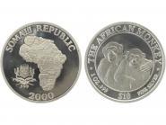 Somalia 10 $  Affe  2000, 1 Unze