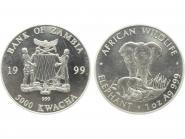Sambia 5000 K  Elefant  1999, 1 Unze