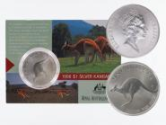 Australien 1$ Känguru 1998, 1 oz  Silber Folder