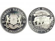 Somalia 100 Sh. Elefant  2013, 1 Unze Privy Mark