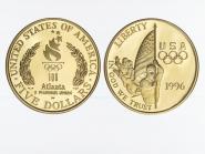 USA 5 $  Gold, Fahnenträger 1996 (W), PP