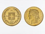 Schweiz 20 Franken Helvetia Goldmünze 1893