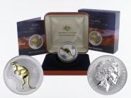 Australien 1$ Känguru 2006, 1 oz gold plated (B+C)