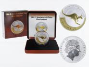 Australien 1$ Känguru 2004, 1 oz gold plated (B+C)