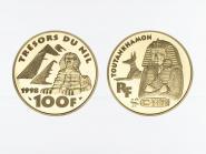 Frankreich 100 Fr 1998, Totenmaske Tutankhamun, PP