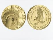 USA 5 $  Gold, Freiheitsstatue 1986 (W), PP