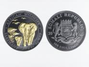 Somalia 100 Sh. Elefant  2015, Black Ruthenium gilded, 1 oz