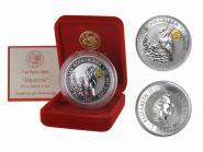Australien 1$ Kookaburra 1997,1oz Silber, Privy Drache (gold) B+C
