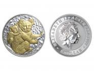 Australien 1$ Koala 2008 gildet, 1 Unze  Silber