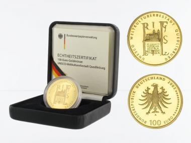 BRD 100 Euro Gold, 2003 D, Quedlinburg, original