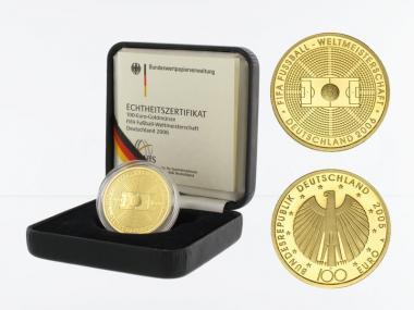 BRD 100 Euro Gold, 2005 D, Fußball WM 2006, original
