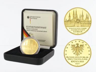 BRD 100 Euro Gold, 2007 J, Lübeck, original