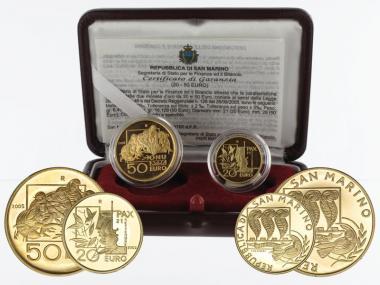 San Marino 20 €+50 € Gold, 2005, Friedenstag original