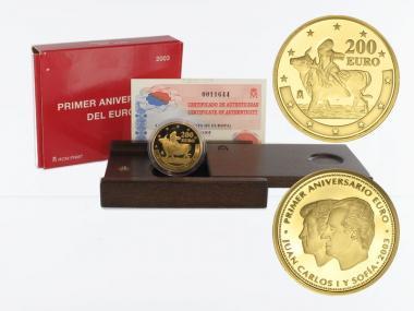 Spanien 200 Euro Gold, 2003, 1. Jahrestag Euro