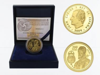 Spanien 200 Euro Gold, 2009,  Philipp II.