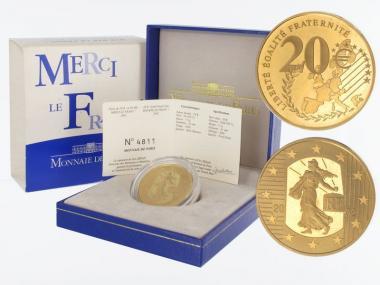 Frankreich 20 Euro Gold, 2002, Säerin