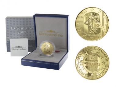 Frankreich 5 Euro Gold, 2007,  Säerin (31 mm)