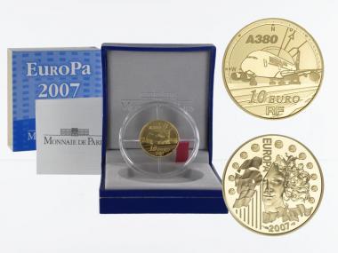 Frankreich 10 Euro Gold, 2007, Europa Airbus A380