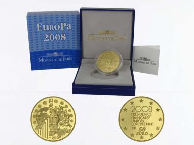 Frankreich 50 Euro Gold, 2008, Europa EU-Präsident