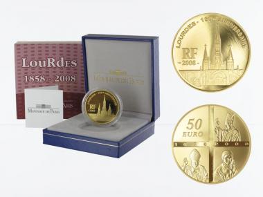 Frankreich 50 Euro Gold, 2008, Lourdes
