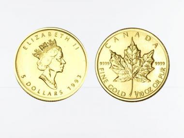 Kanada 5 Dollar 1/10 oz Maple Leaf, 1/10 Unze Feingold