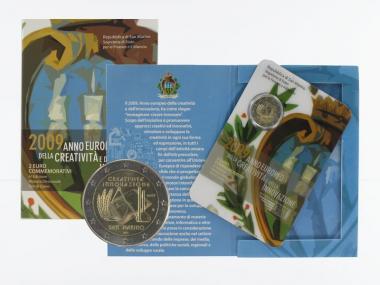 San Marino 2 Euro Münze, 2009, Kreativität im Folder