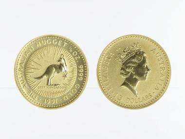 Australien 15 $ Nugget Känguru, 1/10 Unze  1991