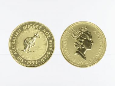 Australien 25 $ Nugget Känguru, 1/4 Unze  1993