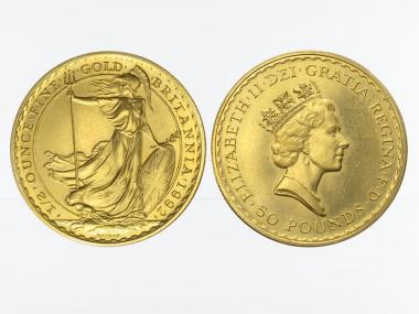 Großbritannien  50 Pfund Britannia , 1/2 Unze Feingold