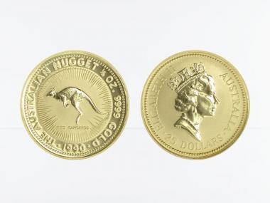 Australien 25 $ Nugget Känguru, 1/4 Unze  1990