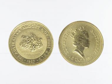 Australien 15 $ Nugget Känguru, 1/10 Unze  1987