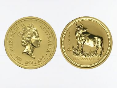 Australien 100 $ Lunar I Ochse, 1 Unze  1997