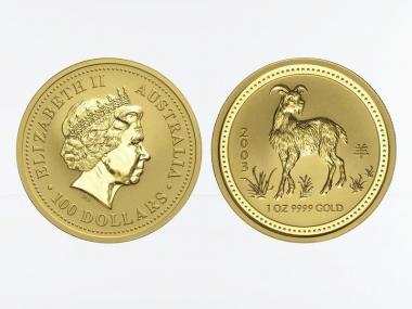 Australien 100 $ Lunar I Ziege, 1 Unze  2003