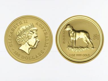 Australien 100 $ Lunar I Hund, 1 Unze  2006