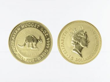 Australien 15 $ Nugget Känguru, 1/10 Unze  1992