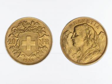 Schweiz 20 Franken Vreneli Goldmünze 1922