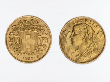 Schweiz 20 Franken Vreneli Goldmünze 1927
