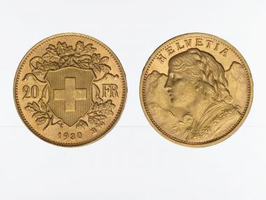 Schweiz 20 Franken Vreneli Goldmünze 1930
