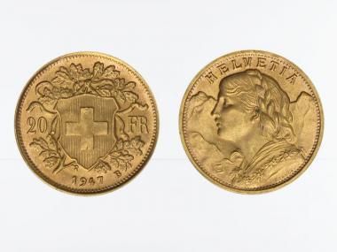 Schweiz 20 Franken Vreneli Goldmünze 1947