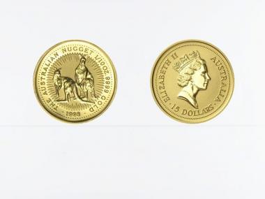 Australien 15 $ Nugget Känguru, 1/10 Unze  1998
