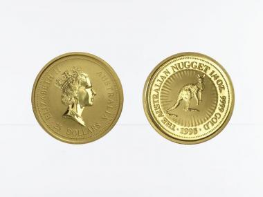 Australien 25 $ Nugget Känguru, 1/4 Unze  1995