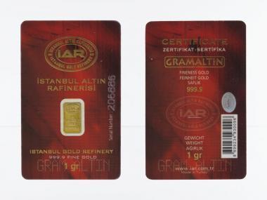 1 Gramm Goldbarren 999,9 Feingold, Zertifikat