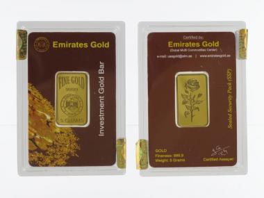 5 Gramm Goldbarren 999,9 Feingold, Zertifikat