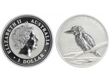 Australien 1$ Kookaburra 2007, 1 oz  Silber