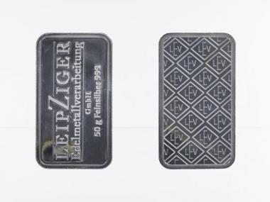 50 Gramm Silberbarren 999,9 Feinsilber