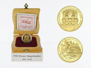 Österreich 500 Sh. Gold, 1998, Wiener Sängerknaben